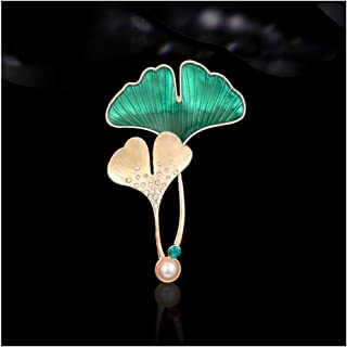 Ginkgo Leaves Imitation Crystal Colourful Women Brooch Pin High-end Brooch Sweater Jacket with Accessories Perfect Gift (C...