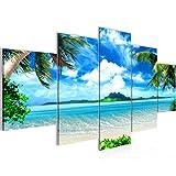 Tableau decoration murale Palmiers de plage 200 x 100 cm - XXL Impression sur Toile Salon Appartment 5 Parties - prêt à accrocher - 603351a