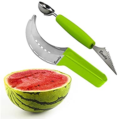 Premium Watermelon Slicer Corer & Server with Melon Baller and Fruit Carving Knife (2 in 1) - Slice Right Cutter for Melons, Pumpking & More - Easy to Use Fruit Tools