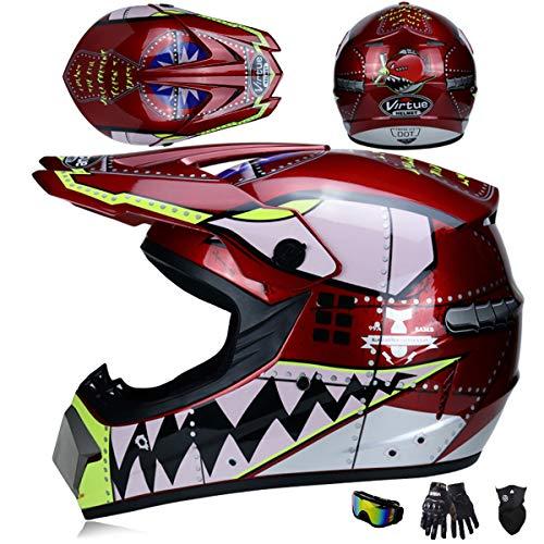 Niños Casco Motocross Hombre con Gafas(4 PCS), Casco Descenso MTB Integral con...