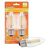 LEDVANCE Sylvania LED TruWave Natural Series Décor B10 Light Bulb, 40W Equivalent Efficient 4W, Medium Base Dimmable Clear 2700K Soft White, 2 Pack (40793)