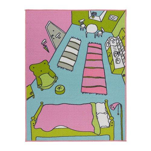 Rummet Tapis à poils courts Multicolore Taille 100 x 133 cm Le tapis doux constitue une aire de jeu confortable sur le sol.