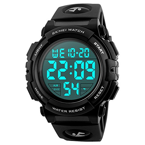 SKMEI Large Face Digital Watch Men's Sports Waterproof LED Military Wristwatches Chronograph Alarm Clock (Black)