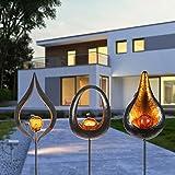 3er Set LED Solar Fackeln Metall Feuer Effekt 93 cm Motiv Gartenstecker
