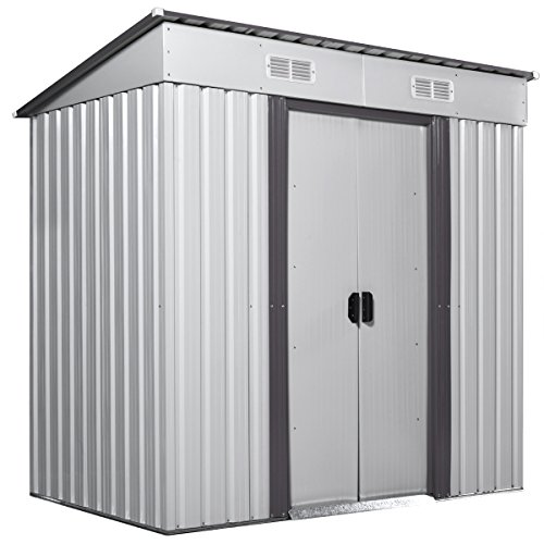 JAXPETY 4' x 6' Large Outdoor Storage Shed Box, Backyard Garden Steel Utility Tool Sheds Lawn Building Garage Organizer w/ Sliding Door, Inclined Roof, 2 Vents, Gray