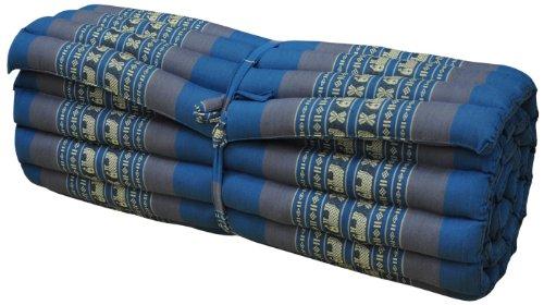 Colchón tailandés L (75 cm) Alfombra, meditación, Yoga, Gimnasia, Playa, jardín, Fabricado en Tailandia, Azul/Gris con Elefantes (81714)