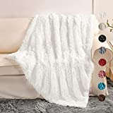 Yusoki White Soft Plush Faux Fur Blanket 50' x 60',Fluffy Cozy Comfy Furry Warm Throw Blanket Sherpa Fuzzy Fleece Thick Lightweight Blanket for Bed Chair Sofa Couch Bedroom(White, Throw50 x 60')