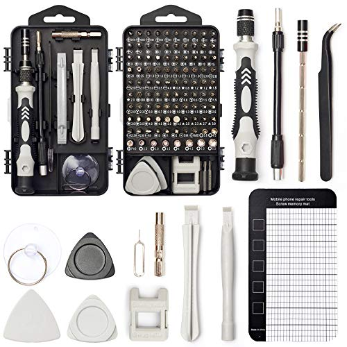 Precision Screwdriver Set, SHARDEN 122 in 1 Electronics Magnetic Repair Tool Kit with Case for Repair Computer, iPhone, PC, Cellphone, Laptop, Nintendo, PS4, Game Console, Watch, Glasses etc (Grey)