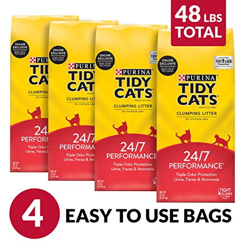 Purina Tidy Cats Clumping Cat Litter, 24/7 Performance Multi Cat Litter - (4) 12 lb. Bags