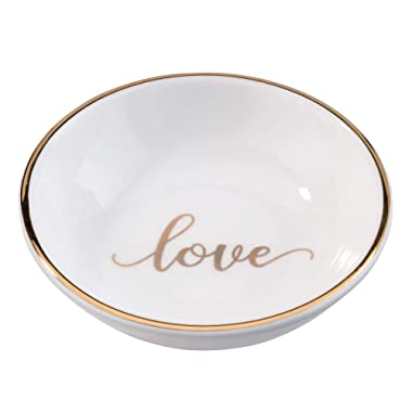 Lillian Rose Love Ring Dish, Measuring 3.5 x 3.5 inches, White