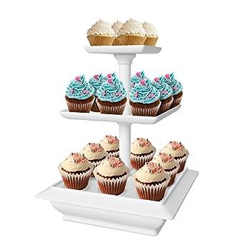 Chef Buddy 3-Tier Cupcake Dessert Stand White