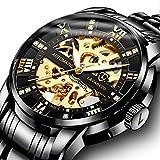 Men's Watch Black Luxury Mechanical Stainless Steel Skeleton Waterproof Automatic Self-Winding Luminous Diamond