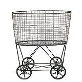 Creative Co-op DE2757 Vintage Metal Laundry Basket with Wheels, Silver