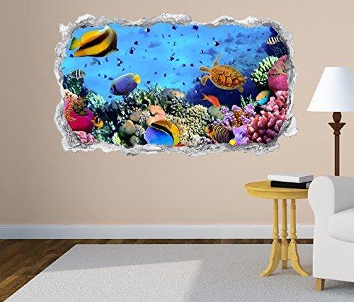 3D Wandtattoo Fische Korallen Riff Unterwasser Wand Aufkleber Durchbruch Stein selbstklebend Wandbild Wandsticker 11N260, Wandbild Größe F:ca. 140cmx82cm