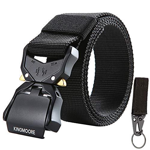 KingMoore Tactical Belt, Nylon EDC Belt Heavy Duty Work Belt Quick-Release with Metal Buckle (L (36''-41''), _Black)