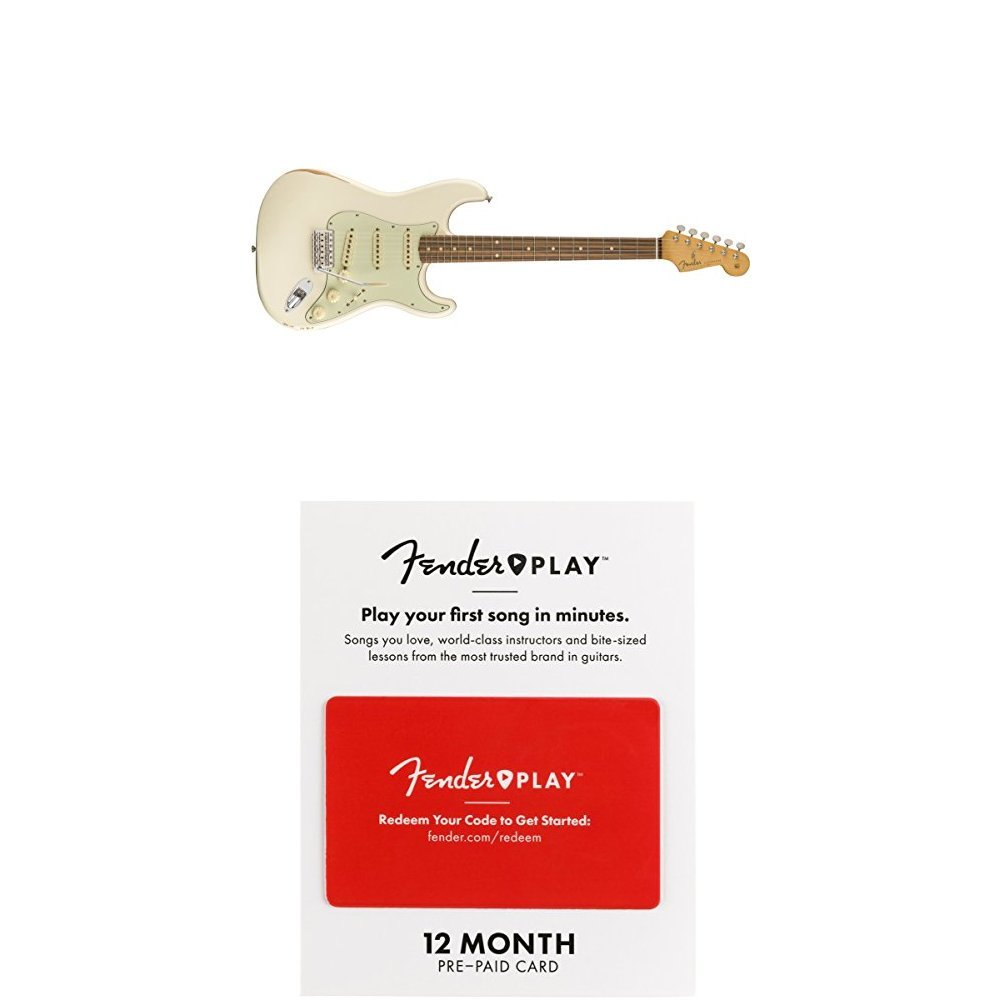 Cheap Fender Road Worn 60 s Stratocaster Electric Guitar - Pau Ferro Fingerboard - Olympic White With 12 Months Guitar Lesson Gift Card Black Friday & Cyber Monday 2019