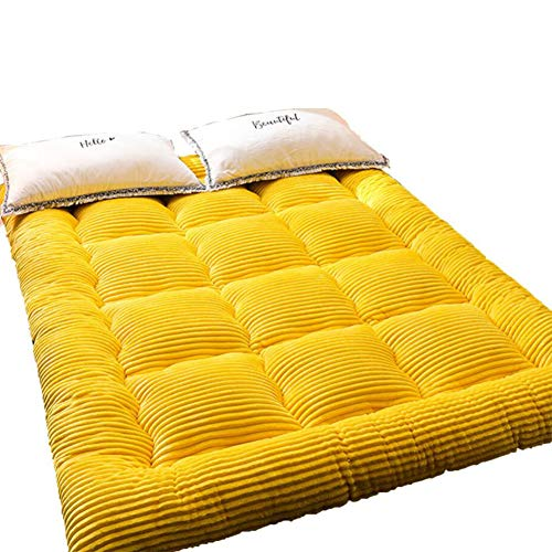 YQ WHJB Japanese Futon Tatami Mat, Ultra Soft Thick Floor Futon Mattresses Foldable Sleeping Pad For Sleep Supportive And Pressure Relief-yellow 150x190cm(59x75inch)