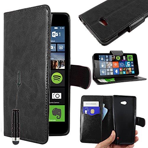 ebestStar - kompatibel mit Microsoft Lumia 640 Hülle 640 LTE Dual Kunstleder Wallet Case Handyhülle [PU Leder], Kartenfächern, Standfunktion + Mini Stift, Schwarz [Lumia 640: 141.3x72.2x8.8mm, 5.0'']