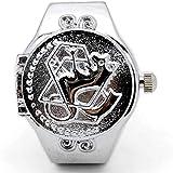 Patrón de Dibujos Animados de Plata Reloj de Dedo Anillo de Concha Reloj Personalidad Banda de Reloj elástica Ajustable Numeral Dial Banda elástica Relojes de Dedo Anillo Unisex