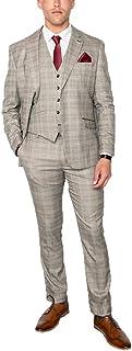 Cavani Men's Quincy Mix Check 3-Piece Suit Slim Fit Printed Lining Stone