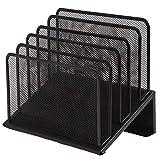 1InTheOffice Metal Mesh File Organizer, Black Wire Mesh 5 Section Incline Sorter, Black Finish