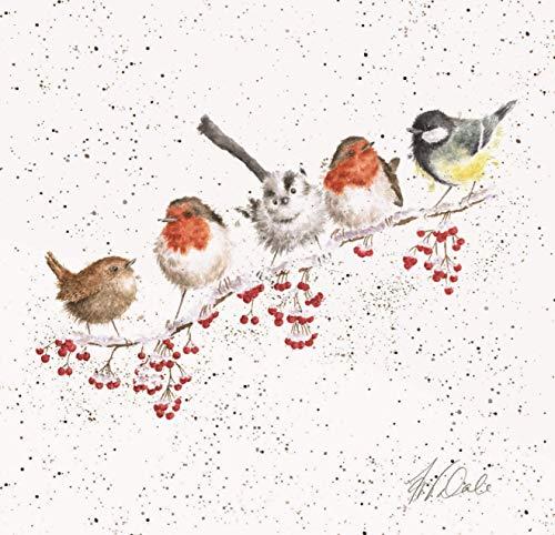 Wrendale Designs Lienzo cuadrado blanco con impresión de pájaros de jardín de 20 cm, diseño de un día nevado
