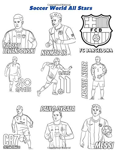 Soccer World All Stars: Coloring Book for Kids and Adults with Fun, Easy, and Relaxing (Coloring Books for Adults and Kids 2-4 4-8 8-12+) High-quality images