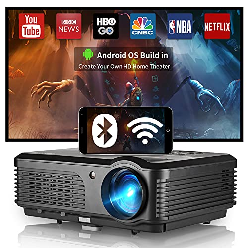 """Wireless WiFi Bluetooth Projector Android Projector HD 1080p for Outdoor Movies Airplay Home Theater System LCD Led Projector 4600lm 200"""" Image Support 4D Keystone Zoom for PC DVD TV Stick USB Tablet"""