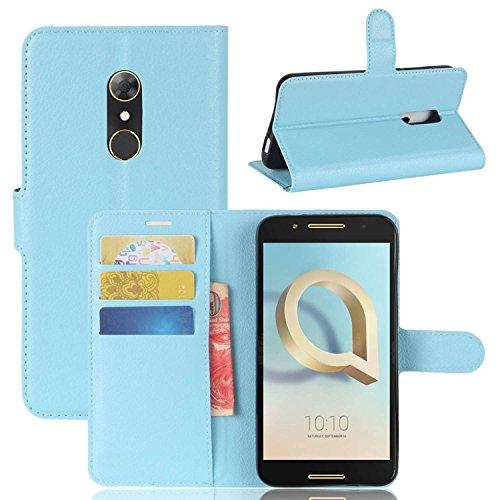 Ycloud Tasche für Alcatel A7 Hülle, PU Kunstleder Ledertasche Flip Cover Wallet Hülle Handyhülle mit Stand Function Credit Card Slots Bookstyle Purse Design blau