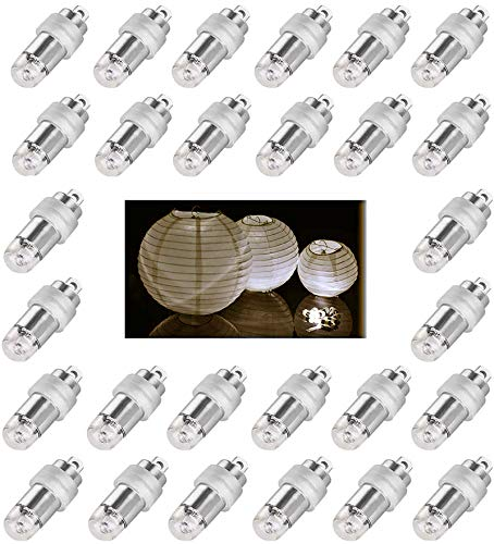 Jofan 24pcs Warm White Mini Lights Paper Lantern Lights Waterproof and Submersible LED Balloon Lights for Floral Party Wedding Decoration