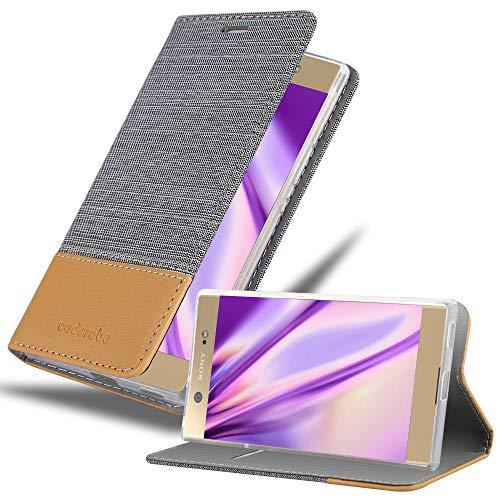 Cadorabo Hülle für Sony Xperia XA1 Ultra in HELL GRAU BRAUN - Handyhülle mit Magnetverschluss, Standfunktion & Kartenfach - Hülle Cover Schutzhülle Etui Tasche Book Klapp Style