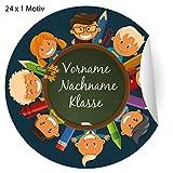 24 fröhliche, Custom Kinder Namens Aufkleber mit ihrem Adress Text auch zur Einschulung, MATTE...