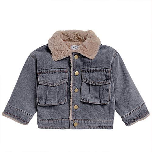 Bambino Ragazzi Giacche di Jeans in Pile per L'Autunno Inverno Bambini Blue Jeans Cappotti con Tasca 3-4 Anni