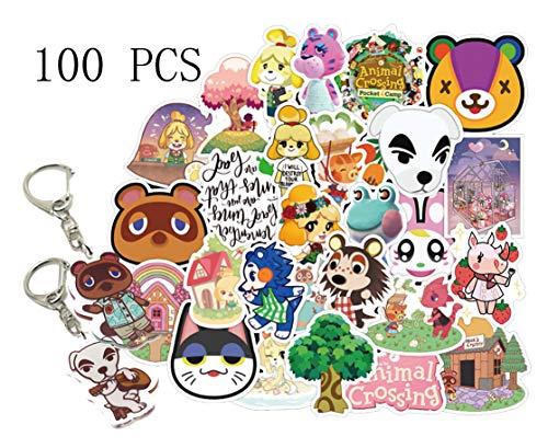 GTOTd Animal Crossing Aufkleber [100 Stück] mit New Horizons Tier Schlüsselanhänger, Vinyl-Aufkleber für Laptop, Skateboard, Wasserflaschen, Computer, Handy