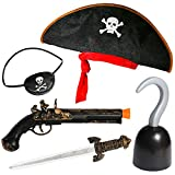 PROLOSO Pirate Accessories for Kids Halloween Caribbean Costume for Boys Girls Buccaneer Dress Up Cosplay Stage Props Imaginative Play Toy Kit