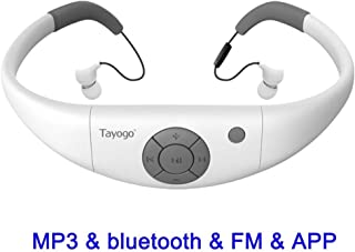 Tayogo 8GB Waterproof MP3 Player, Bluetooth Swimming Headphones Underwater 10FT with Shuffle Feature, Support FM APP Flash Drive - White