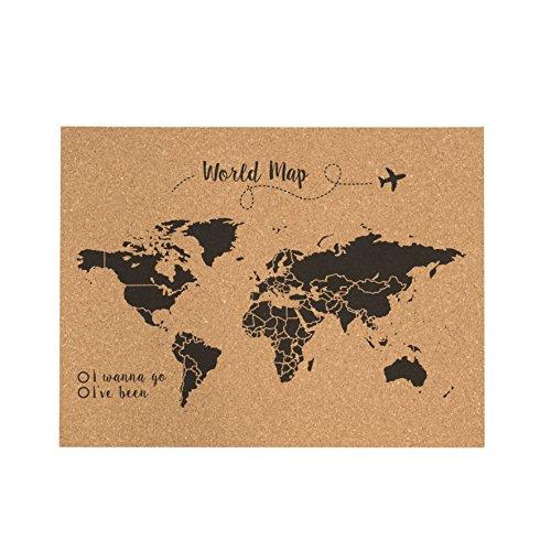 Decowood - Mapa Mundi de Corcho, Grande, para Marcar Tus Viajes por el Mundo y Colgar en la Pared, Negro - 90x60cm