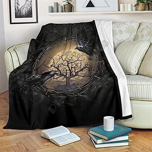 Árbol De La Vida Cuervo Vikingo Manta de Franela 100% Microfibra,Mantas para Sofa de 3D Impresión de Suave Cálido Reversible,Adecuada para Cama,Sofá,Sala de Estar,Viajes-150x200