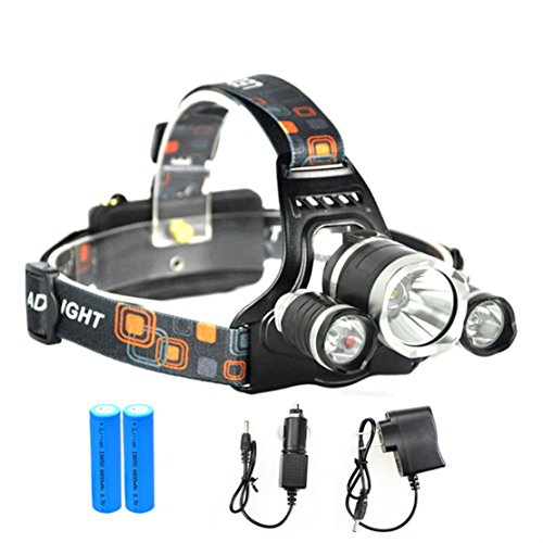 LED Linterna frontal,MianBaoShu impermeable LED Cabeza lámpara(Incluye 2*18650 akku),3 x PE lámpara Faros T6 faros para lectura nocturna, camping, pesca,Aventura,montañismo,escalada,bicicleta,etc.