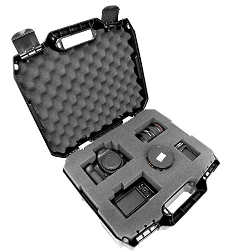 CASEMATIX Hard Camera Case Equipment Case with Custom Foam for DSLR Body, Lens, Flash and More - Hardshell Protective Hard Plastic Case with Foam Compatible with Canon, Nikon, Panasonic and More SLRs