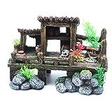 Sscon - Decoración para acuario, decoración de pecera, decoración de resina, paisaje, estantería, escritorio, accesorios, madera y casa de piedra