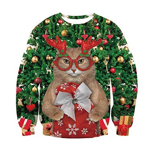 Freshhoodies 3D Chats Ugly Christmas Sweater Femme Homme Créatif Pull Noel Drôle Chats Mignons Xmas Sweat Moche Elf Imprimé T Shirt Vetement Jumper XL