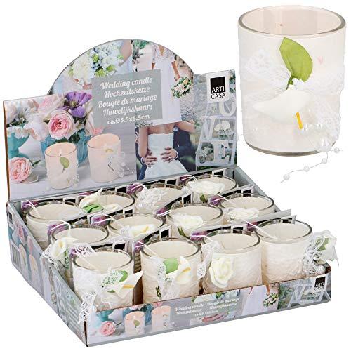 URBNLIVING 12 Hochzeitskerzen im Glas, duftend, Tischdekoration, Blumen-Deko, Rosen und Lilien