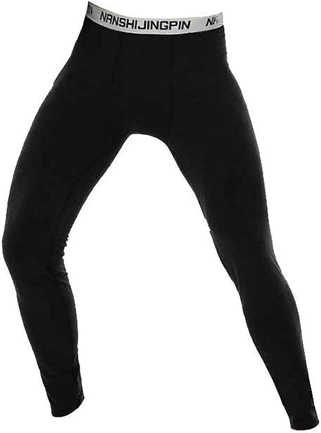 JEEYJOO Men's Mid-Rised Warmer Thermal Long Pants with Elastic Wide Waistband Leggings Trousers