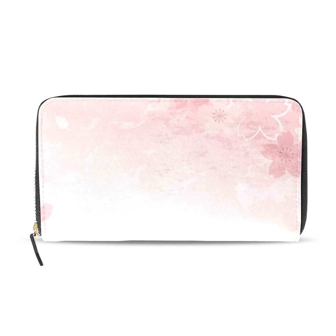 クリップ蝶超越する軽減する旅立の店 長財布 人気 レディース メンズ 大容量多機能 二つ折り ラウンドファスナー PUレザー さくら 桜の花 綺麗 ウォレット ブラック