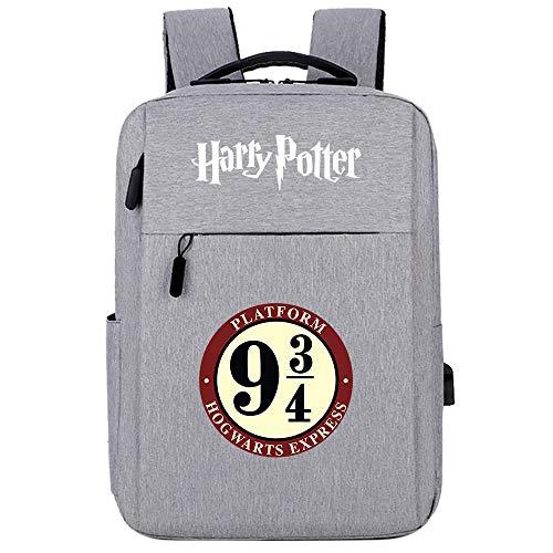 Zaino per laptop ultraleggero, con porta di ricarica USB, zaino casual confortevole resistente GXB100 Harry Potter grigio