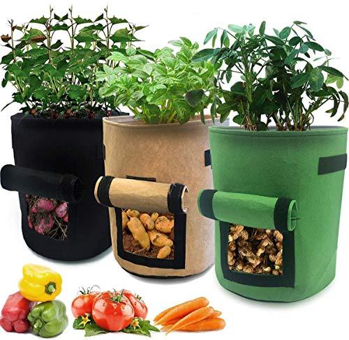 Kabi - Bolsas de cultivo de patatas para hacer crecer y cultivar patatas de tela transpirable contenedor para plantas de jardín con mango y ventana
