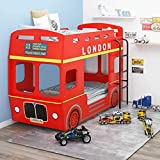 Rojo MDF, Hierro Litera London Bus Rojo MDF 90x200 cmMobiliario Camas y Accesorios Camas y somieres