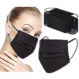 Disposable Face Masks, 3 Layer Protective Face Mask Black 100 Pcs