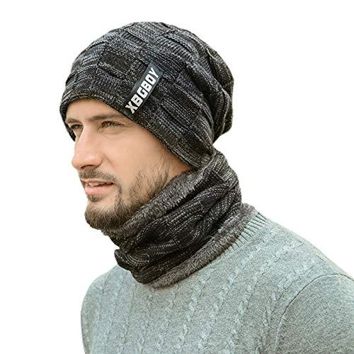 2 piezas de hombres mujeres invierno beanie sombrero crculo bufanda conjunto grueso peluche forrado a cuadros punto crneo tapa al aire libre a prueba de viento esquiador de esqu cuello mscara (el